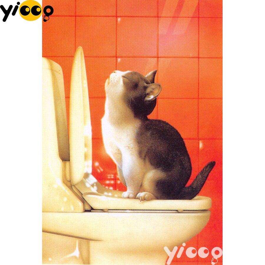 Алмазная картина с котом на туалете, полностью квадратная/круглая дрель 5D, алмазная вышивка, мозаика, украшение, картина AX1365