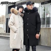 -30 Degree X-Long Parkas Winter White Down Jacket Men Keep Warm Thicken Coat Men Fashion Hooded Fur Collar Windbreaker Men