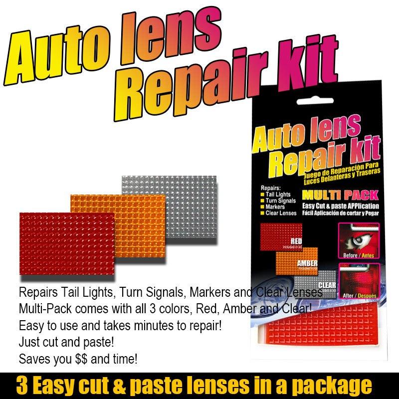 Car Auto Lens Repair Kit DIY Grid Pattern Car Headlights Taillight Repair Tool Set Car Lights Crack Repair Film Polish Red Amber