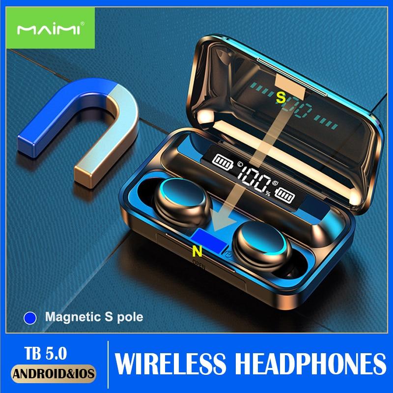F9-5c TWS Wireless Headphones Bluetooth 5.0 HD Mirror Screen LED Display Music Earphones Sports Earb