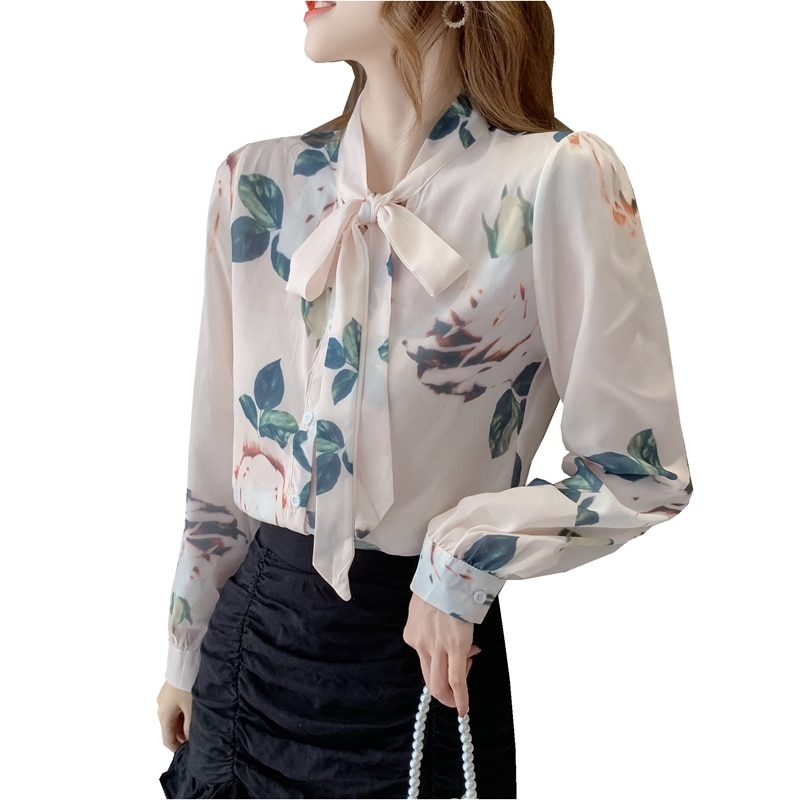 Fashion women Spring Autumn ribbon tied flower pattern printing career elegant full sleeve office lady Chiffon shirts tops gauzy raglan sleeve crane pattern tied dress