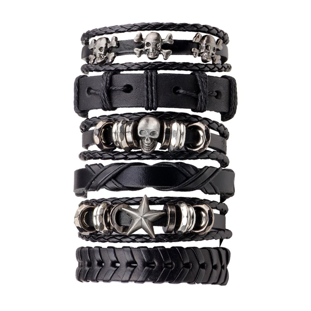 6pcs/pack Handmade PU Leather Black Men Braided Skull Star Decoration Men's Bracelet Multilayer Fashion Jewelry Best Gift