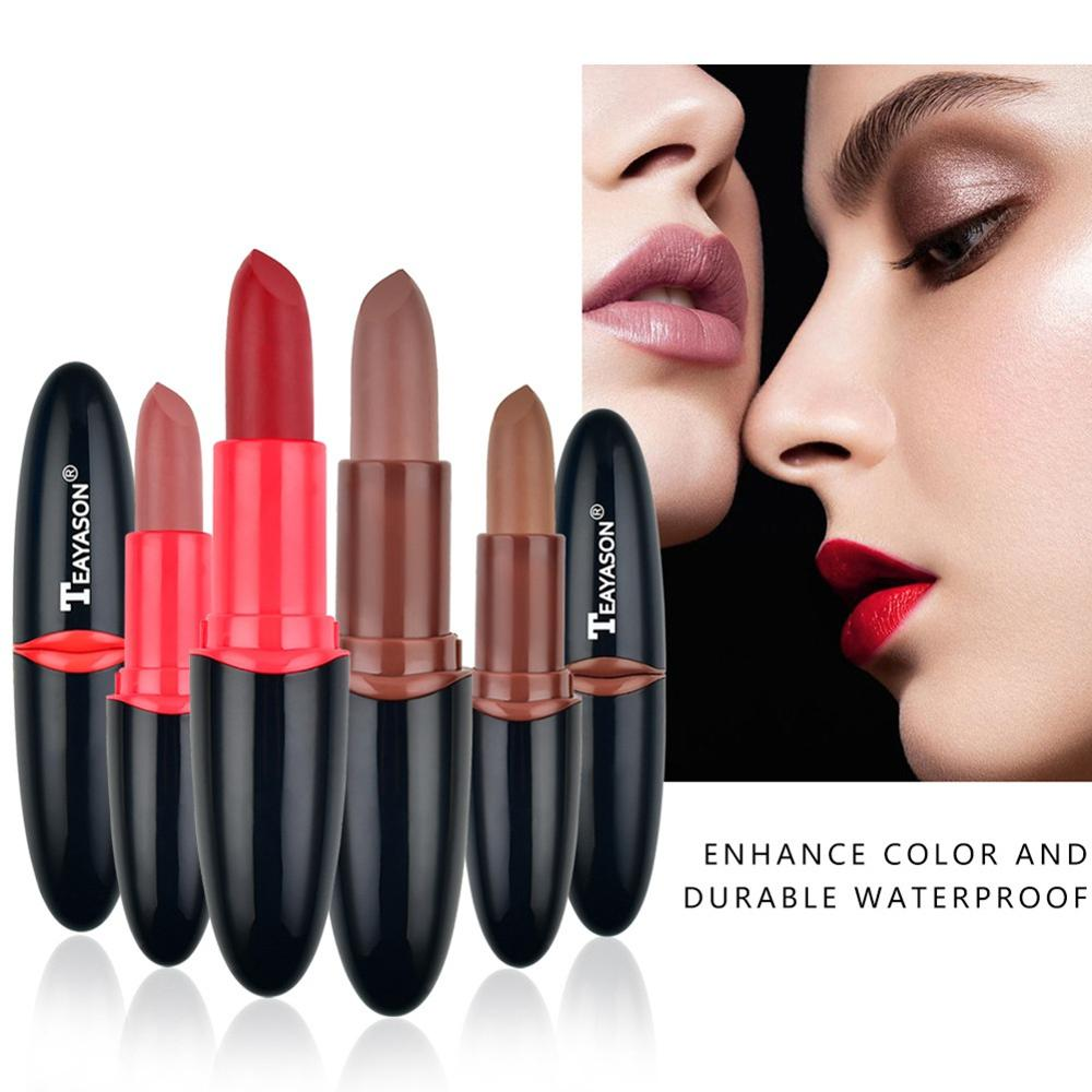 Рекомендуем 4 шт Шелковистые матовые губные помады для губ Lipstic набор стойкие водостойкие антипригарные чашки Colorfast