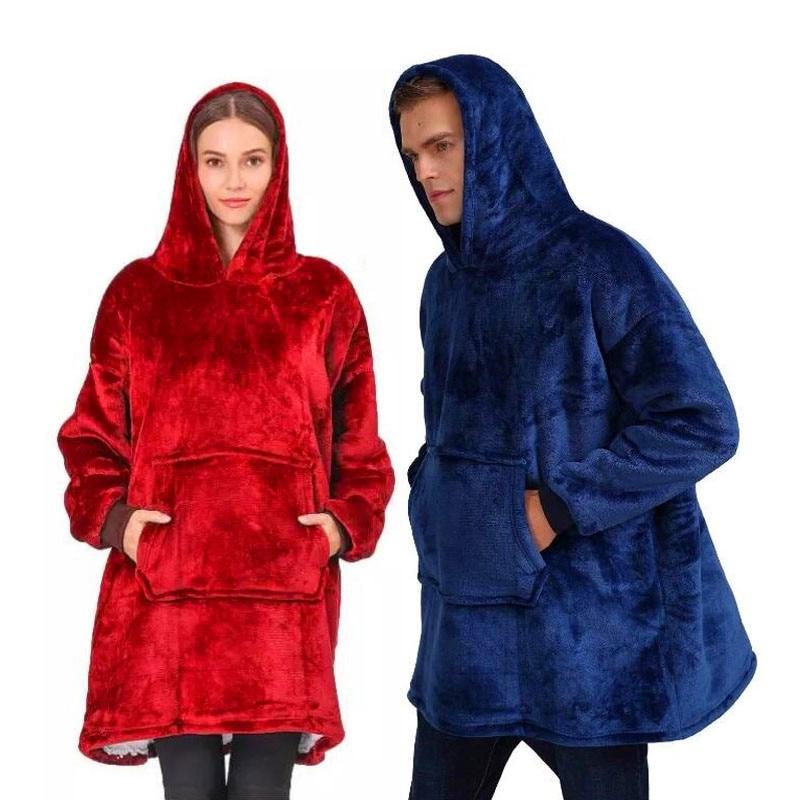 Para invierno grueso cómodo para mujeres de gran tamaño acogedor usable con capucha manta sudadera adulto TV Manta polar de Sherpa con mangas calientes