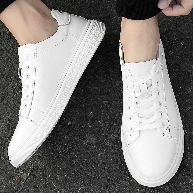New two-layer cowhide board shoes, low-top men's shoes, white shoes, leather shoes size 38-45