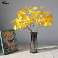 meldel artificial plant yellow ginkgo leaves garden home decor 3 branches fake leaves autumn decoration artificial plastic plant