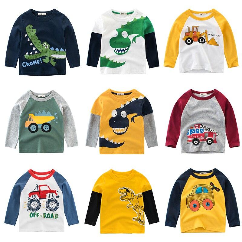 Детские рубашки, футболка для детей, рубашка для мальчиков и девочек Детские хлопковые топы с рисунком динозавра, одежда