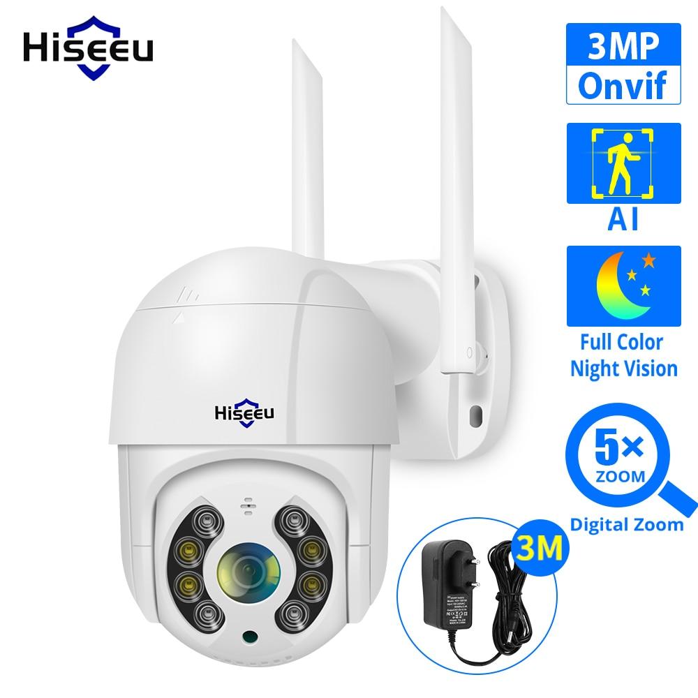 Hiseeu 3MP واي فاي كاميرا IP في الهواء الطلق HD كامل اللون للرؤية الليلية PTZ مقاوم للماء كاميرا سرعة الأمن AI كشف الإنسان ICSee