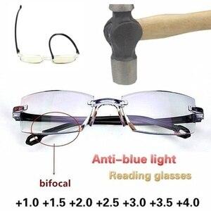 2021 Men Women Rimless Reading Glasses Anti Blue Light Bifocal Far Near  Magnification Eyewear Presbyopic Glasses  +150 +200