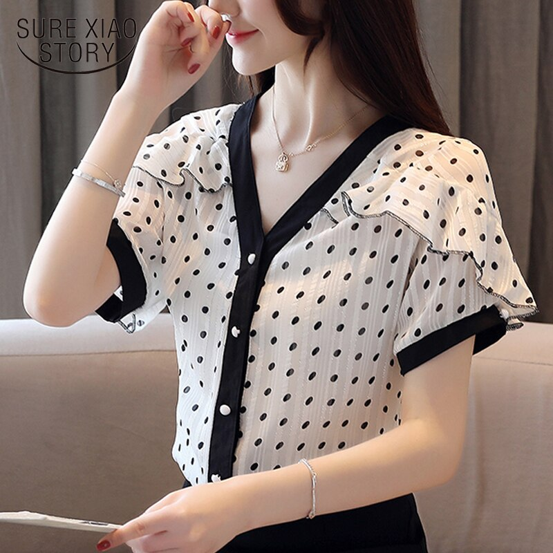 Blusas de Mujer para verano 2020, novedad, Blusa de gasa de lunares con cuello de pico y manga corta, Camisas de Mujer de volantes de estilo coreano 8978 50