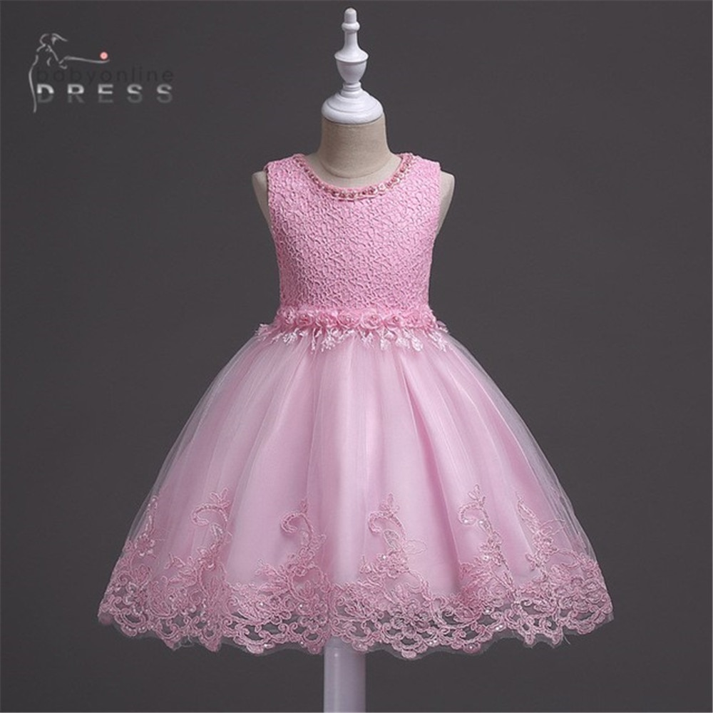 Flower Girls Birthday Banquet Tulle Dresses Lace Wedding Pink Skirt In Stock бантики для девочек