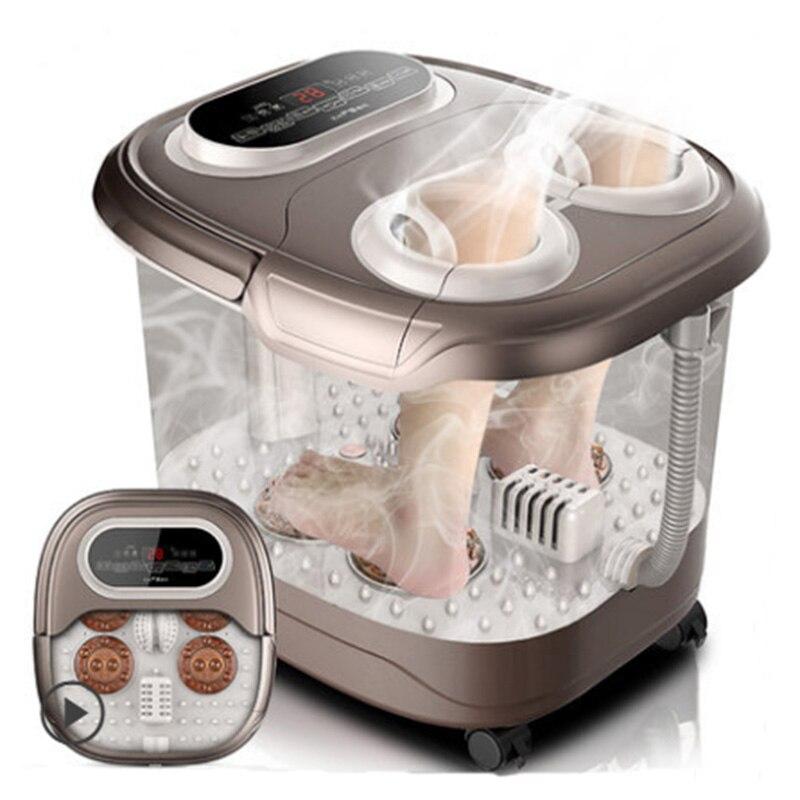 Masaje de pies baño automático lavabo de pies máquina de calentamiento eléctrico uso en el hogar dedos amasar fumigación masaje Tai Chi amasar Spa
