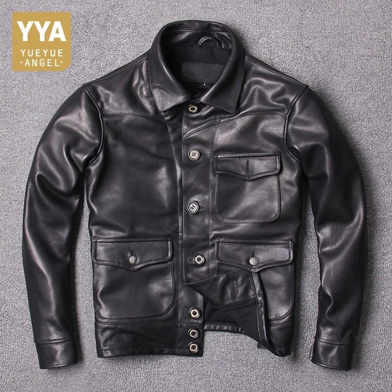 Vintage Black Men Genuine Cow Leather Jacket Lapel Fashion Slim Fit Real Leather 100% Cowhide Jackets Male Motorcycle Biker Coat