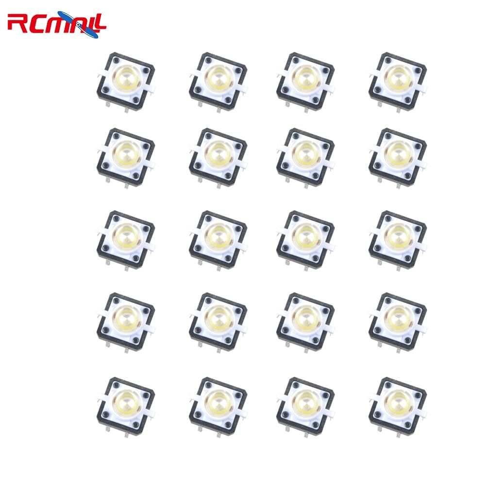 RCmall 20 шт. мини тактовый кнопочный переключатель со светодиодным белым 12*12*7,3 мм 4 контакта