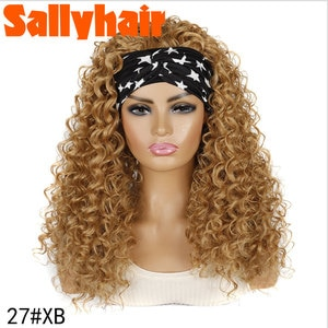 Sallyhair Deep Curly Synthetic Hairband Wig High Temperature Curly Wigs Black Blonde Color