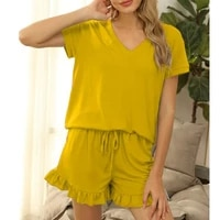 2021 women sets womens casual short sleeve v neck top and shorts two piece home set home loose clothing womens set 6 colors