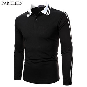 Ribbon Polo Shirt Men 2021 Spring Striped Mens Polo Homme Casual Slim Long Sleeve Patchwork Camisas de Hombre Male Jersey Tops