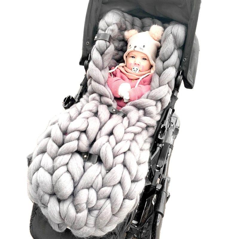 Handmade newborn photography props swaddling sleeping bag anti-kicking blanket stroller sleeping bag knitted thick thread blanke