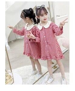 Платье для куклы для девочек, осеннее платье, Новое Модное детское платье в клетку с длинным рукавом для девочек