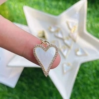 5pcs dainty gold plated white shell heart love charm minimal gold plated heart mother of pearl charm fashion pendant
