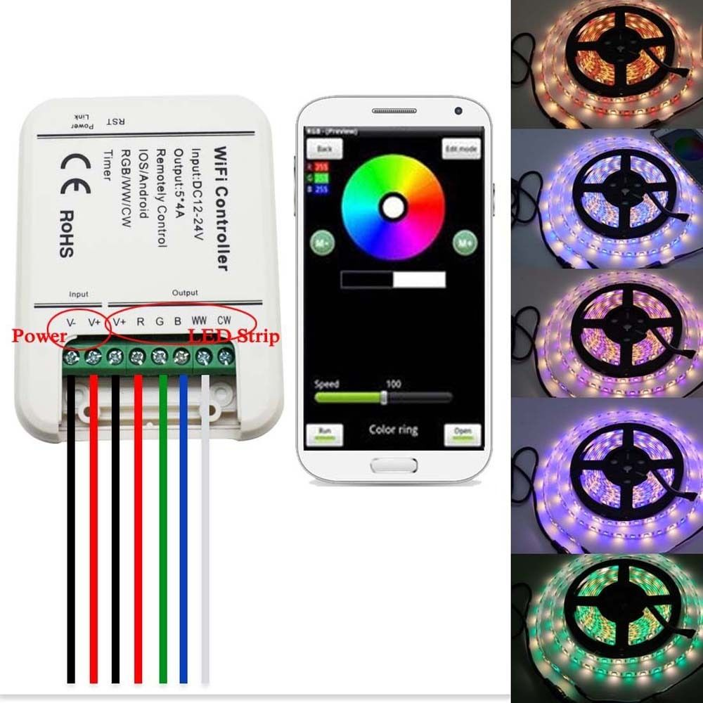 12V 24V Wifi LED Controller RGB/RGBW/RGBWW Strip 16 Million Colors Music and Timer Mode Wifi Control by IOS/Android Smartphone