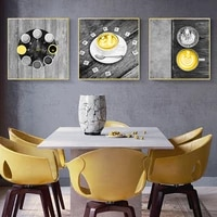 Toile de peinture nordique jaune pour tasse de cafe  affiche murale dart doux  image moderne pour decoration de salon et de maison