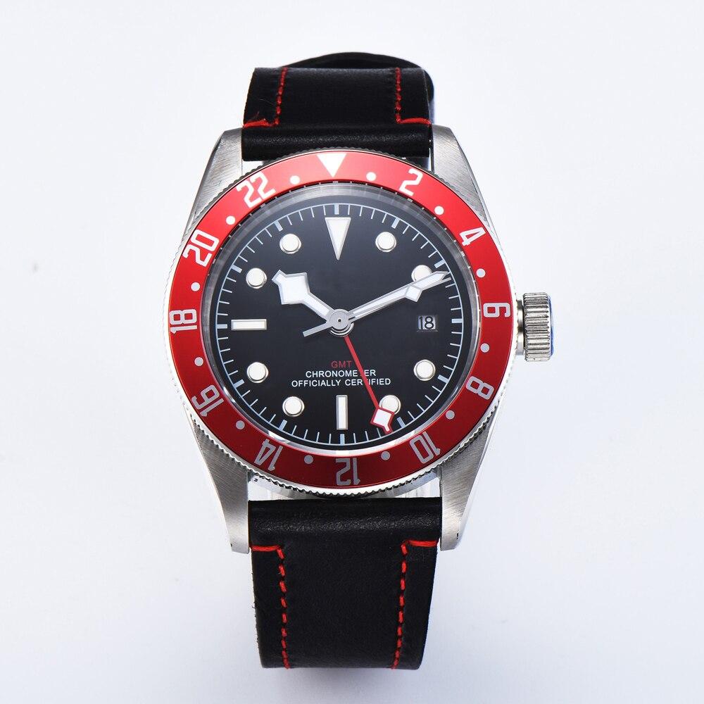 Corgeut 41MM hommes sport rouge lunette GMT automatique mécanique montre SS lumineux étanche homme décontracté mode horloge