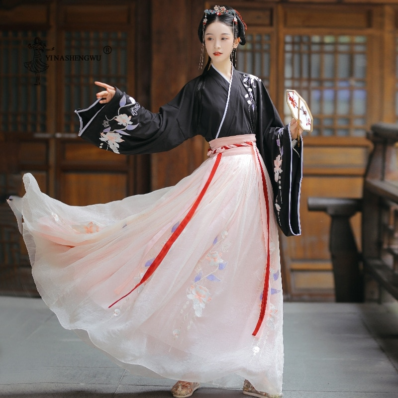 Hanfu الصينية التقليدية زي امرأة القديمة هان سلالة فستان الأميرة الشرقية فستان سيدة أناقة تانغ سلالة الرقص ارتداء