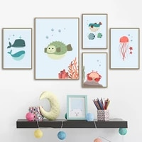 cartoon alphanumeric table octopus jellyfish wall art canvas painting nordic posters and prints wall pictures kids room decor