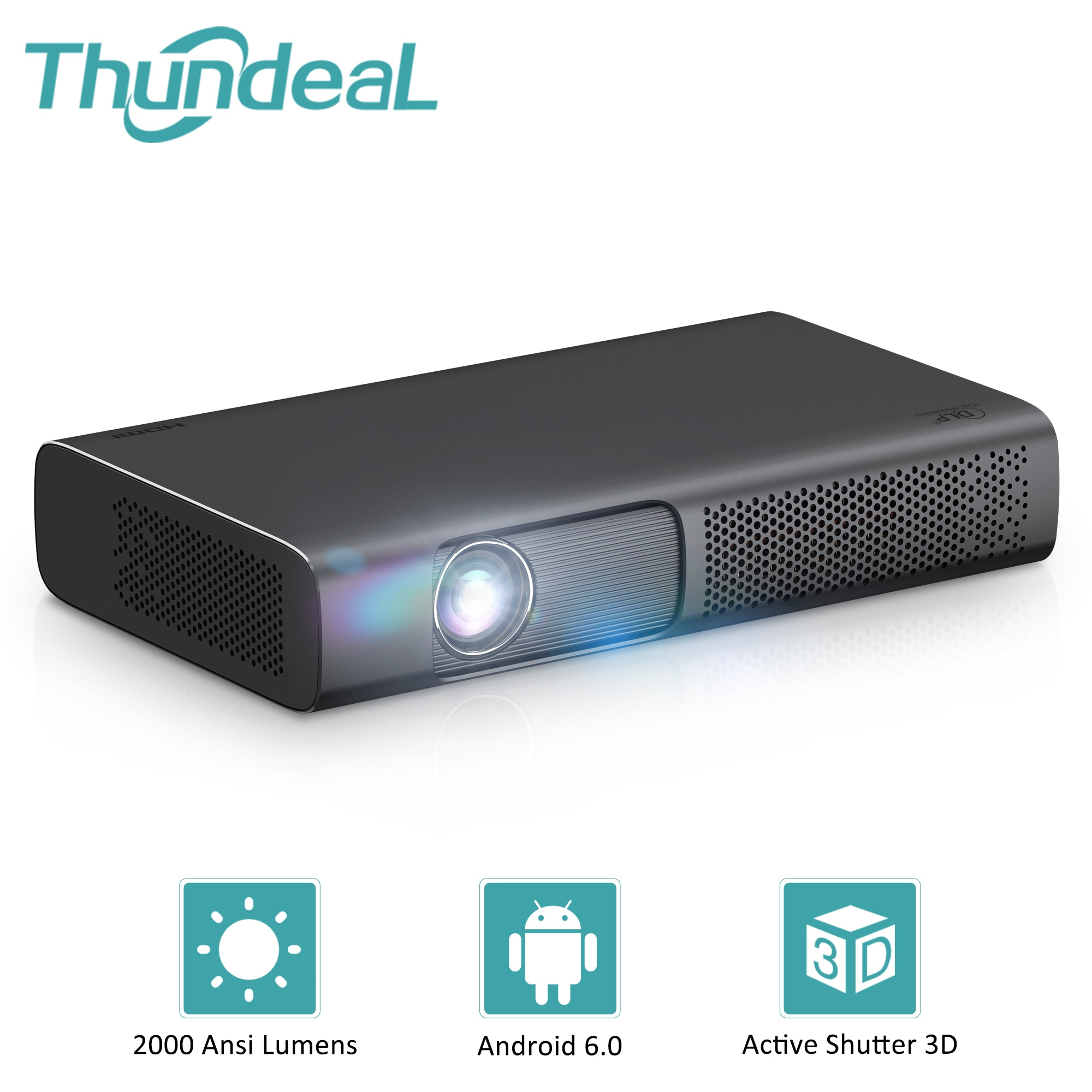 Get ThundeaL New Tech DLP Projector 2000 Ansi Smart DLP Projector T615 for 1080p 4K Video Mini Beamer WiFi Android 3D Home Cinema