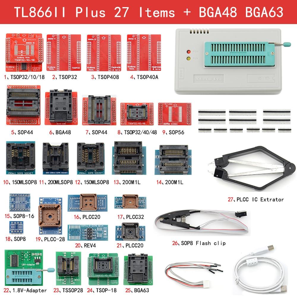 100% أصلي XGECU أحدث V11 TL866II Plus مبرمج عالمي + 27 محول + BGA48 BGA63 + مبرمج اختبار عالي السرعة