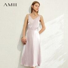 AMII minimalisme printemps été mode solide Vneck débardeur ample taille haute mollet-longueur Aline ensemble femme 12030230