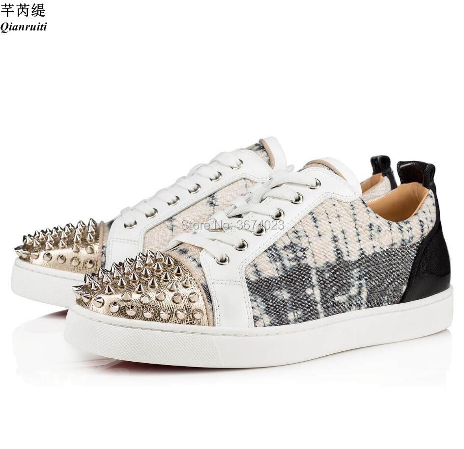 Qianruiti-أحذية رياضية غير رسمية للرجال ، أحذية رياضية بنعل مطاطي مسطح ، كعب منخفض ، مقدمة مدببة ، أحذية رياضية قماشية ، Lurex ، للحفلات