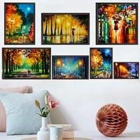 Peinture a lhuile de paysage de rue  lumiere de pluie  amoureux des paysages  peinture sur toile dart  salon  couloir  bureau  decoration murale de la maison