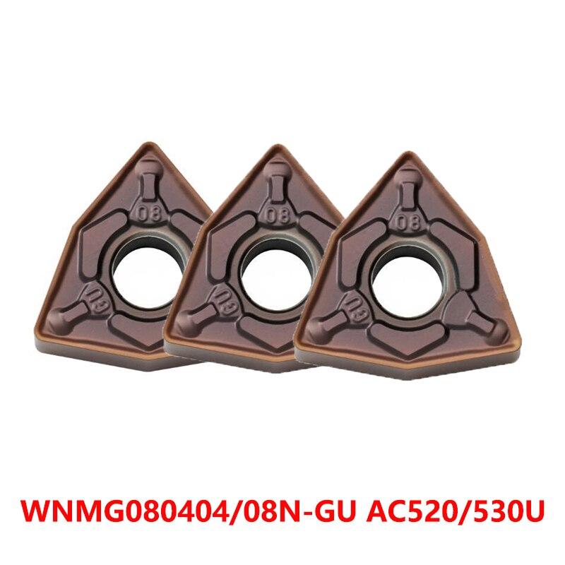 WNMG080404 WNMG080408 N-GU AC530U AC520U مخرطة القاطع WNMG0804 تحول أداة CNC WNMG 080404 080408 قطع 10 قطعة الأصلي إدراج