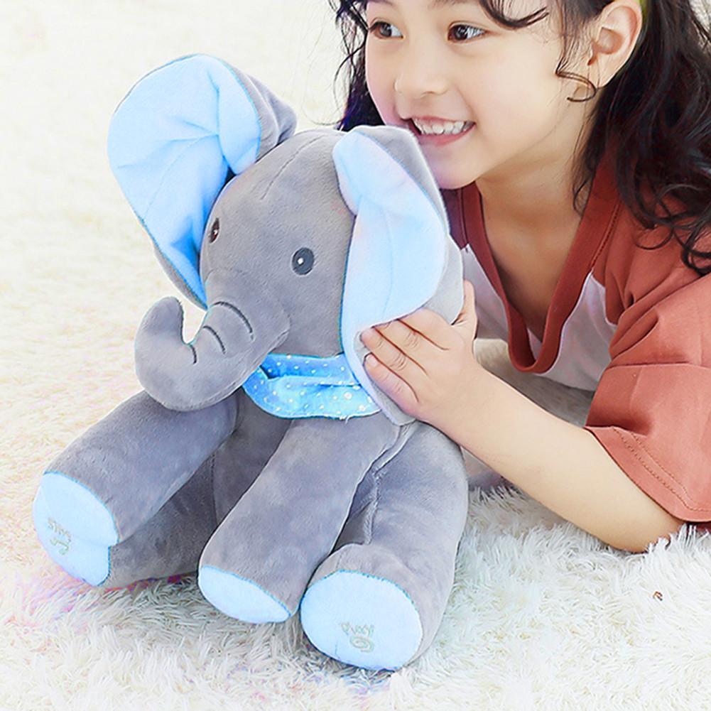 New Elephant Plush Toy Electric Music Shake The Ear Doll Electric Peekaboo Cat Dumbo Children Toy Boy Girl Gift
