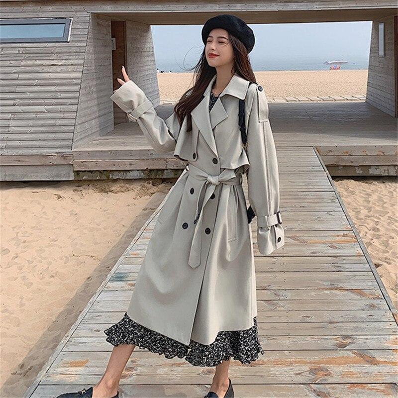 خندق معطف للنساء ربيع الخريف مزدوجة الصدر مربوط خمر أنيقة ضئيلة عارضة الكورية نمط منتصف طويلة سترة واقية 9992
