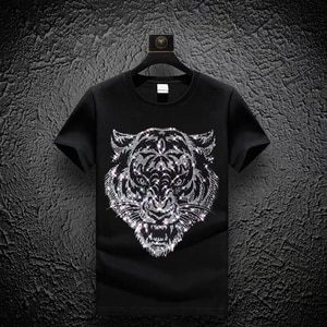 Summer Men's T-Shirt Pure Cotton Breathable XL Tees Dominant Tiger Head Hot Drill Youth Hip Hop Short Sleeve Casual Tops T634