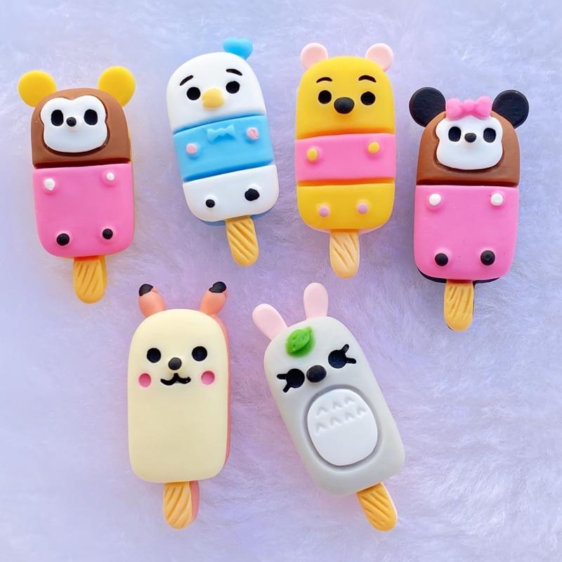 12/24 Uds nuevo variado animal lindo popsicle cabujón de resina parte posterior plana álbum de recortes Kawaii DIY adornos accesorios E49