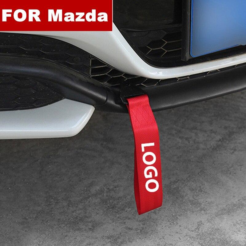 ¡Nueva moda! Cuerdas de remolque de estilo para coche, correa de remolque para coche, cuerda de remolque de parachoques para Mazda logo 2 3 6 8 Axela Atenza CX-5 CX5 CX-7