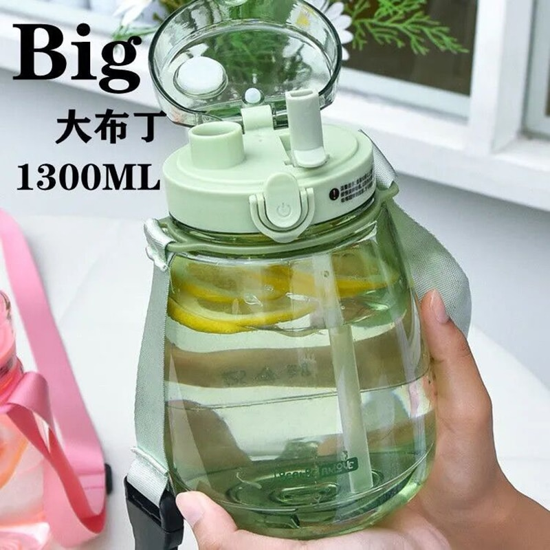 1300ml Large capacity Drinking Bottle with Straw Double Drink Outdoor Fitness Sport Portable Plastic