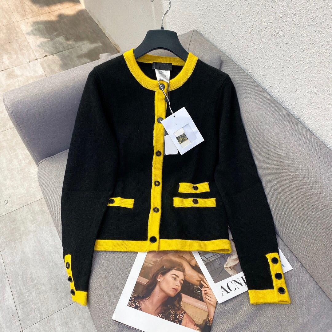 2021 الخريف الشتاء عالية الجودة ملابس النساء الموضة أسود أصفر أنيق المرأة معاطف السترة S M L الحجم
