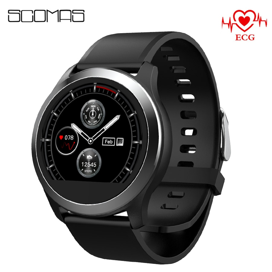 "SCOMAS Smart Watch Men ECG+PPG 1.22""Round Screen Electrocardiograph ECG Display Blood Pressure Heart Rate Monitor Smartwatch"