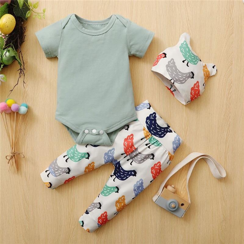 0-18M Infant Baby Spring Outfits, Cute Short Sleeve Crew Neck Romper + Cartoon Print Pants + Hat 3Pcs Set Autumn, Summer, Spring