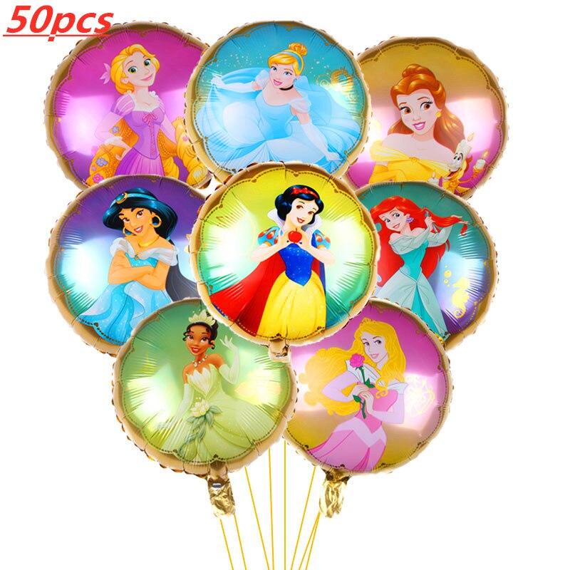 50 قطعة/المجموعة الكرتون 18 بوصة الأميرة البالونات طفلة زينة لأعياد الميلاد حزب إمدادات بالون مملوء بالهليوم لعب الاطفال
