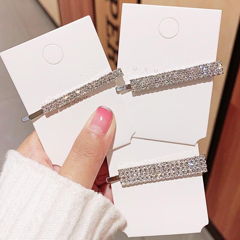 Nowe kobiety luksusowe błyszczące kryształy Barrettes słodka strona ozdoba do włosów spinki boczne klipsy z pałąkiem na głowę modne dodatki do włosów