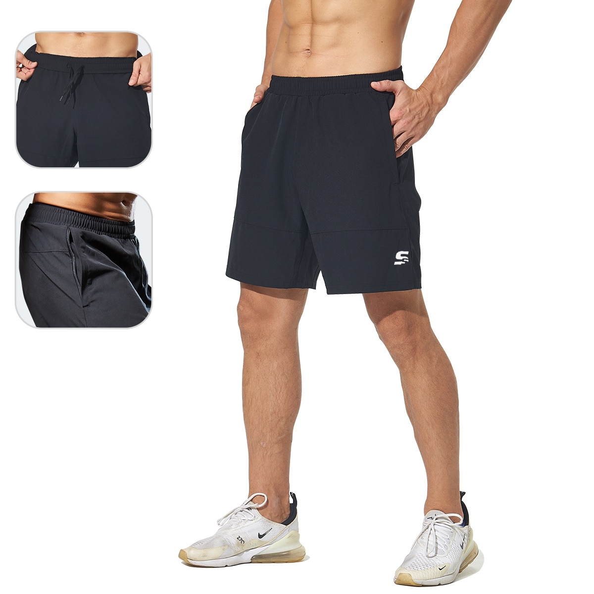 2 In 1 Shorts Men Running Shorts Quick Dry Workout Jogging Gym Fitness Sport Short Athletic Mens Running Sweatpants with Pockets