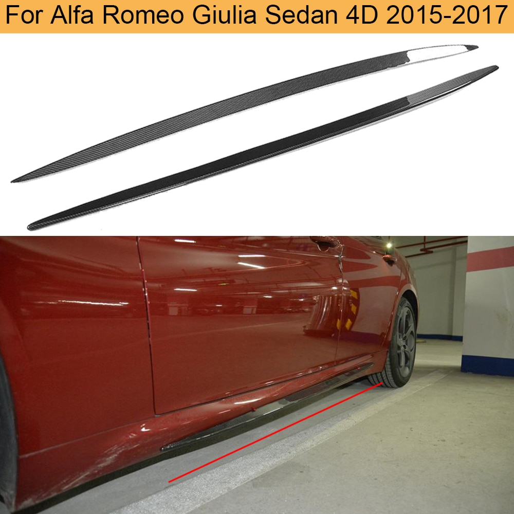 Боковые юбки для автомобиля из углеродного волокна для Alfa Romeo Giulia Sedan 4 двери 2015 2016 2017 добавить на Боковой бампер юбки фартук наклейки для губ
