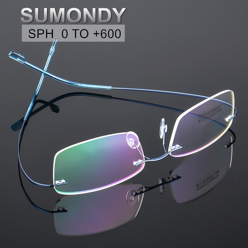 SPH 0 to +6.0 Rimless Reading Glasses Women Men Titanium Alloy Anti Blue Ray Prescription Spectacles