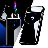 Электрическая металлическая ветрозащитная зажигалка с двойной дугой, перезаряжаемая USB плазменная одноразовая Зажигалка для курения, гадж...